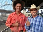 Joint saddle bronc average winners John McNamee and Brad Pierce at the Warwick Showgrounds.