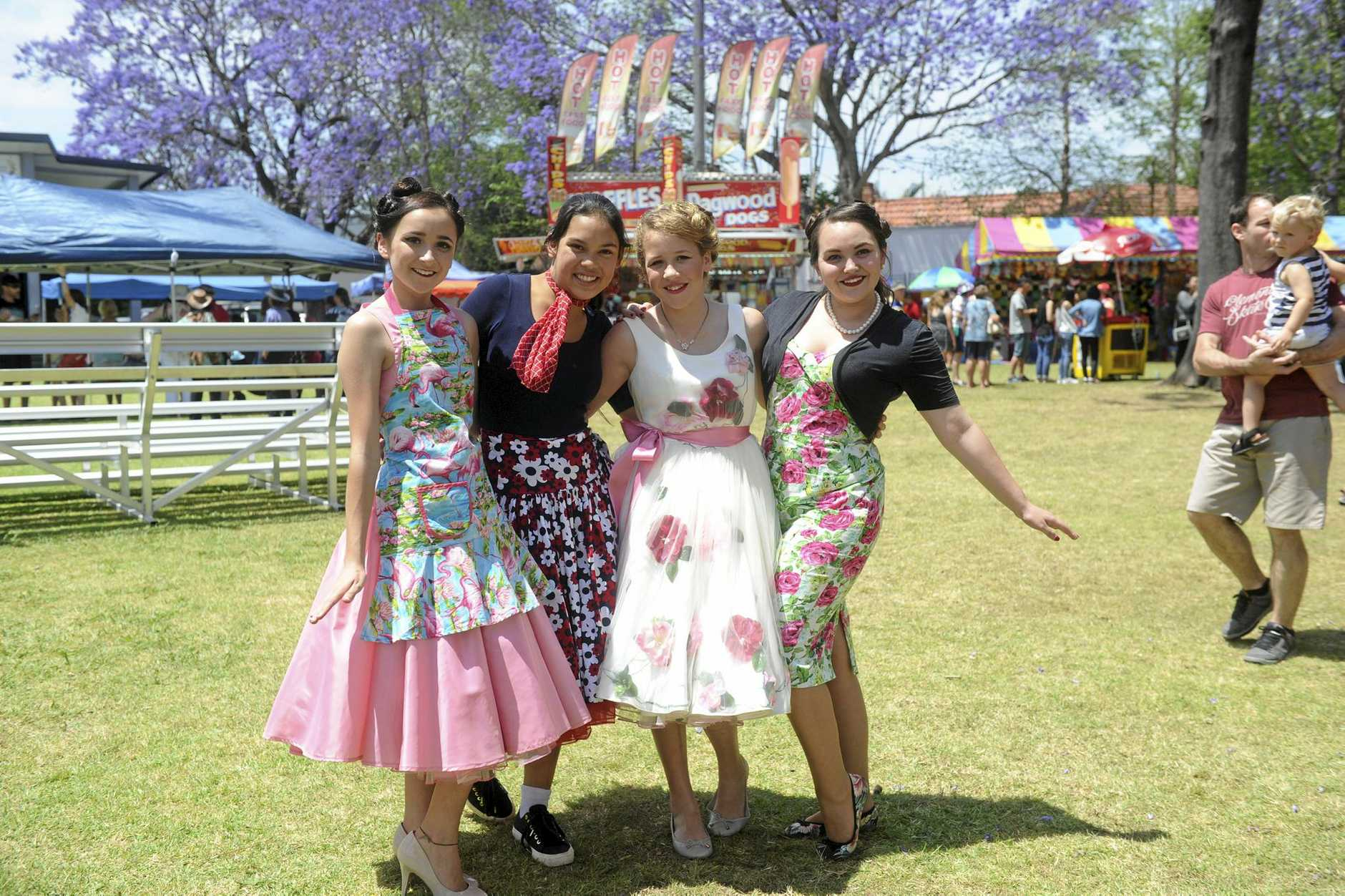 Bernie White, 16, Emmanuelle Ramos, 13, Bridie White, 13 and Charlotte Hanson don their 50s frocks for Sunday's Retrofest event.