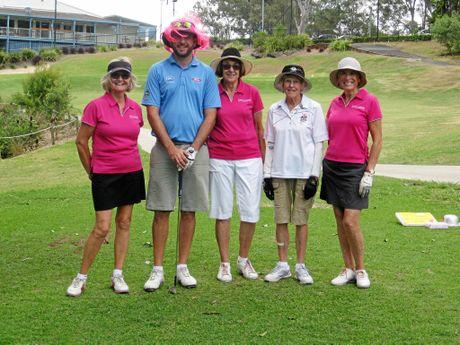 Hilary Feez, Rhonda Parry, Brenda Smith-Gettings, Marie Flegler and Headland assistant golf pro Shane Miley.