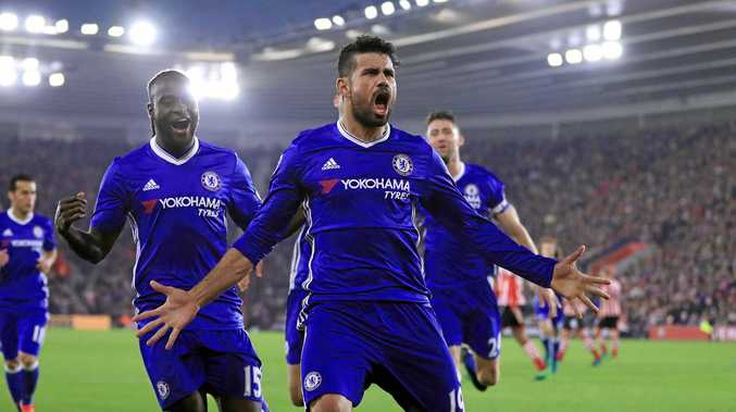 Chelsea's Diego Costa celebrates scoring his side's second goal against Southampton.