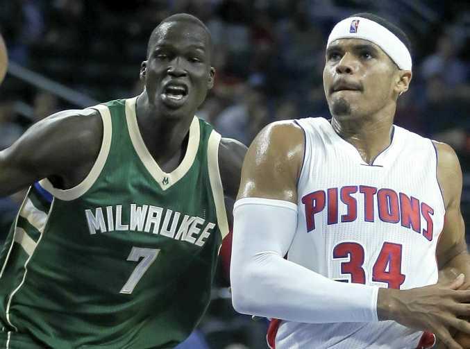 Thon Maker (left) made his NBA debut for the Milwaukee Bucks.