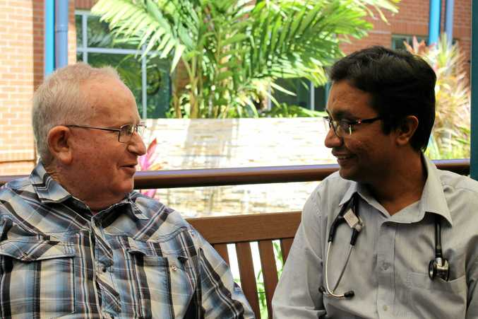 Sarina's Bernie Dallow with cardiologist Dr Manish Kumar, who may well have saved the 66-year-old's life.