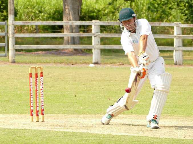 OFF THE SHARP SIDE: A ball flies off the thick edge of Lower Clarence opener Nathan Ensbey's bat toward Brad Chard at short cover providing bowler Mitch Kroehnert with his third wicket of the innings at Ulmarra Showground.