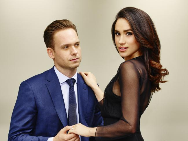 Meghan Markle with Suits co-star Patrick J. Adams. Picture: Nigel Parry/USA NetworkSource:Foxtel