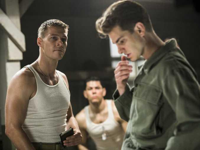 Luke Bracey and Andrew Garfield in a scene from the movie Hacksaw Ridge.