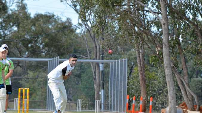 IN HONOUR: Gurender Singh bowls another ferociously quick ball.
