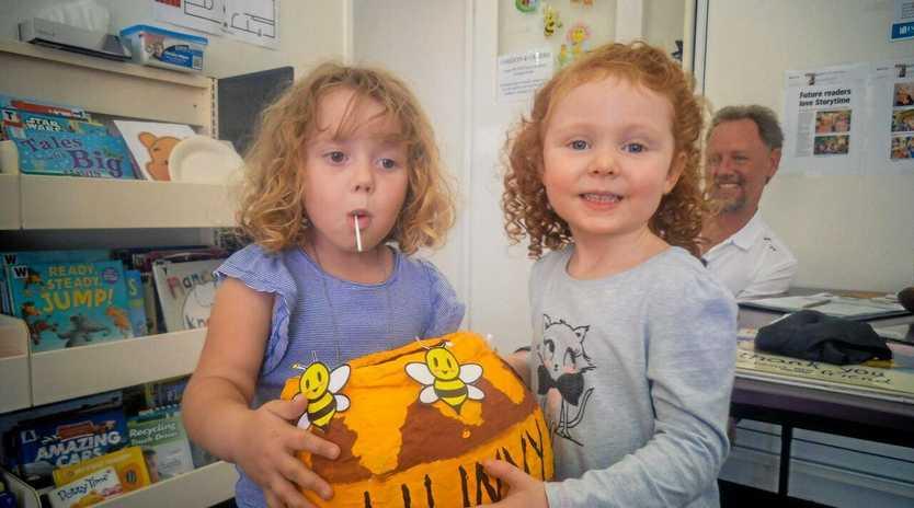 SWEET AS HONEY: Sienna Winterton and Milla Ryan sharing the Hunny Pot at Isaac Libraries.