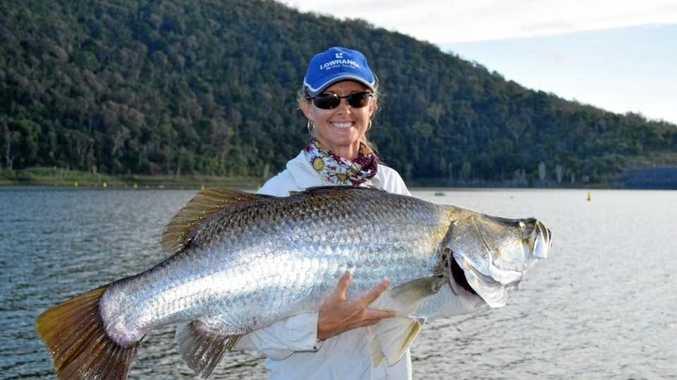Caz Forrest with a trophy Lake Proserpine barramundi.