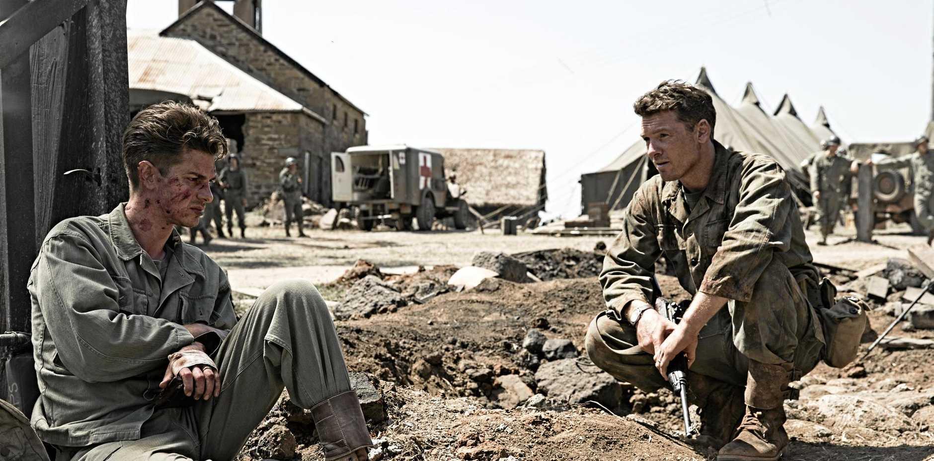 Andrew Garfield and Sam Worthington in a scene from the movie Hacksaw Ridge.