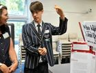 BUDDING SCIENTISTS: Year 12 Riverside Christian College student Callum Peaker explains his project to judge Glynis Stewart from Waterone Laboratory Services at the 2016 Science Research Awards, hosted by the University of the Sunshine Coast.