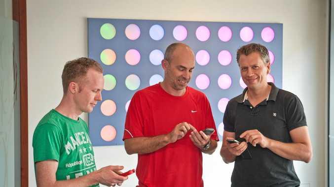ON CLOUD NINE: Janison staff Andrew White, core developer, Tony Rothacker, business development manager amd Simon Alexander.