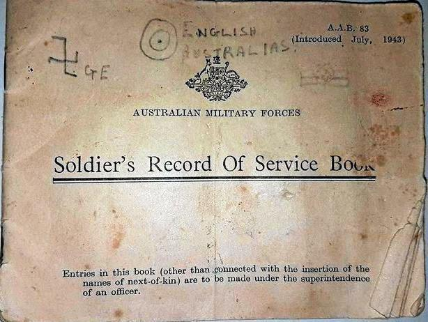 When police uncovered some stolen goods earlier this month in Nimbin, they have also found this World War II 'Soldiers Record of Service Book' in the name of Richard Slee from Broken Hill.