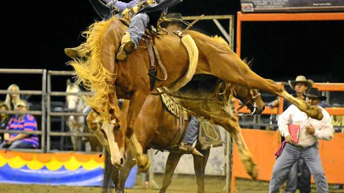 RODEO FINALS: Dinny Moran on Harlem Shuffle at the 2015 NRCA National Rodeo Finals.