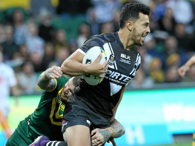 Jordan Kahu in action for the Kiwis during the Test against the Kangaroos at nib Stadium in Perth earlier this month.