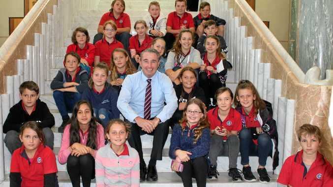 THE BIG HOUSE: Page MP Kevin Hogan with children from St Joseph's Coraki on a visit to Canberra.