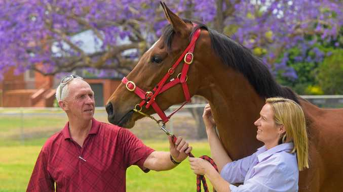 Owner Jim Lloyd and trainer Danielle Cunningham with Aimalac Millie who is running in the Jacaranda Cup.
