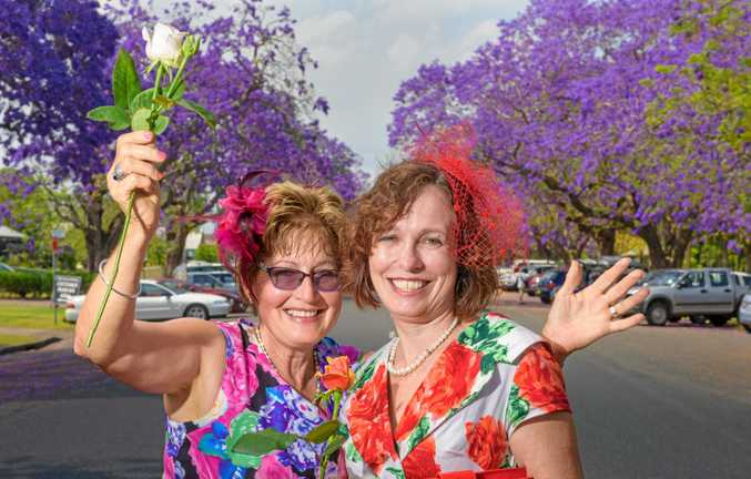 Robyn Dunstan and Robyn Nixon of Grafton decided to get into the floral theme of their surroundings at the Village Green's Birdscage event for the Melbourne Cup.