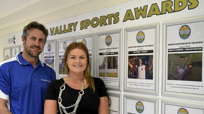 SPORTING SHOWCASE: The Daily Examiner digital producer Bill North and Grafton Shoppingworld marketing co-ordinator unveil the brand new Clarence Valley Sporting Wall of Fame at Grafton Shoppingworld.