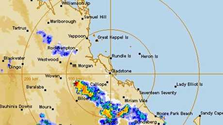 This BOM map shows a thunderstorm moving eastwards from Biloela towards the coast as at 6.40pm on Tuesday, November 1.