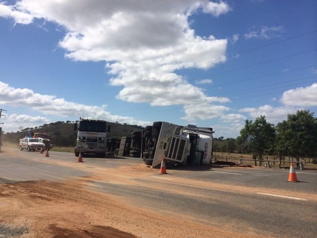 A truck rolled on the Bruce Hwy south of Rton this morning.