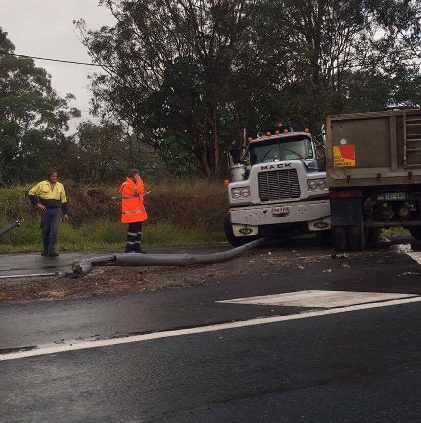 A truck crashed on the Bruce Highway earlier this evening.