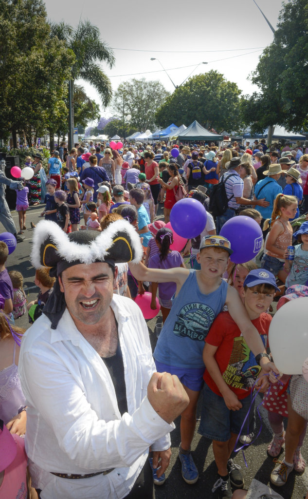 Elders pirate Terry Deefholts gets into Jacarrrrrrr after the Elders show in front of a huge crowd on Jacaranda Thursday. Photo Adam Hourigan / The Daily Examiner