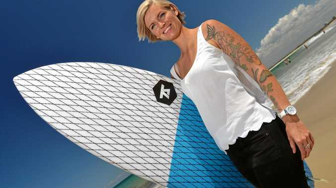 SUPER MUM: Jaymie Faber releases a new book about learning to surf.