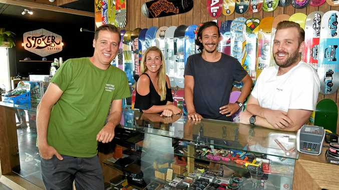 The Boardstore is celebrating its 10th birthday. Pictured are owner Boris Schaber, Monika Brayshaw, Nate Sauer and Derek Ellens.