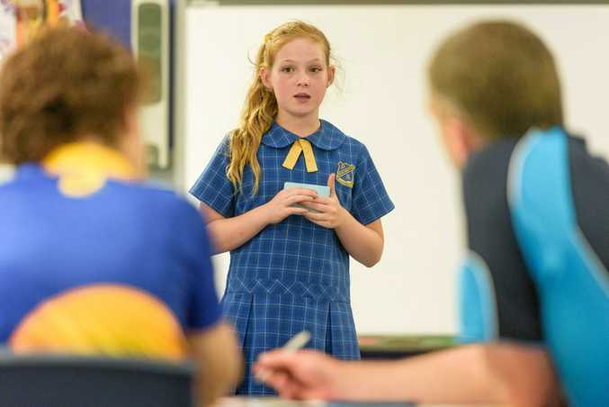 Caitlin Eggins of year 5 South Grafton Public School makes her case at the North Coast state debating trials held at the school.
