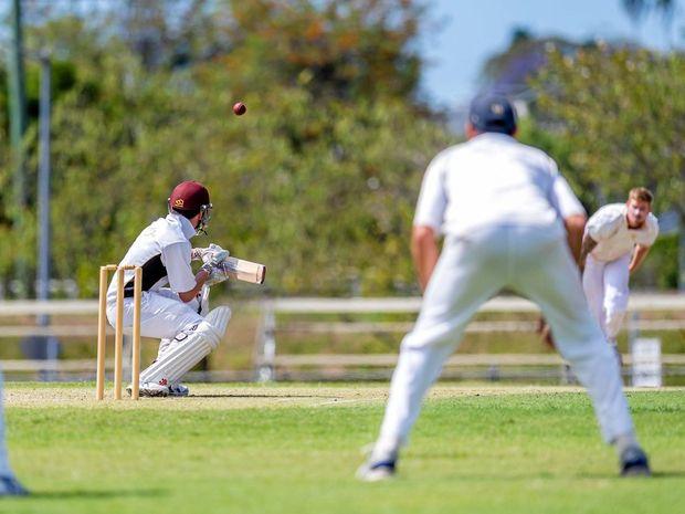 DUCK: Caloundra batsman Harry Burnham slips under a thunder bolt from Gympie bowler Josh Brady at Albert Park on Saturday.