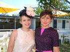 L-R Katie Misselbrook and Katie Rawkins at Callaghan Park for the Melbourne Cup Race Day.