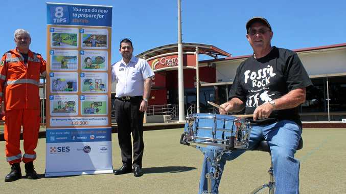 ROCKING FOR THE SES: Fossil Rock drummer Garry Lavercombe, Gerry Burnage from the SES and Tere Sheehan from Cherry Street Sports Club.