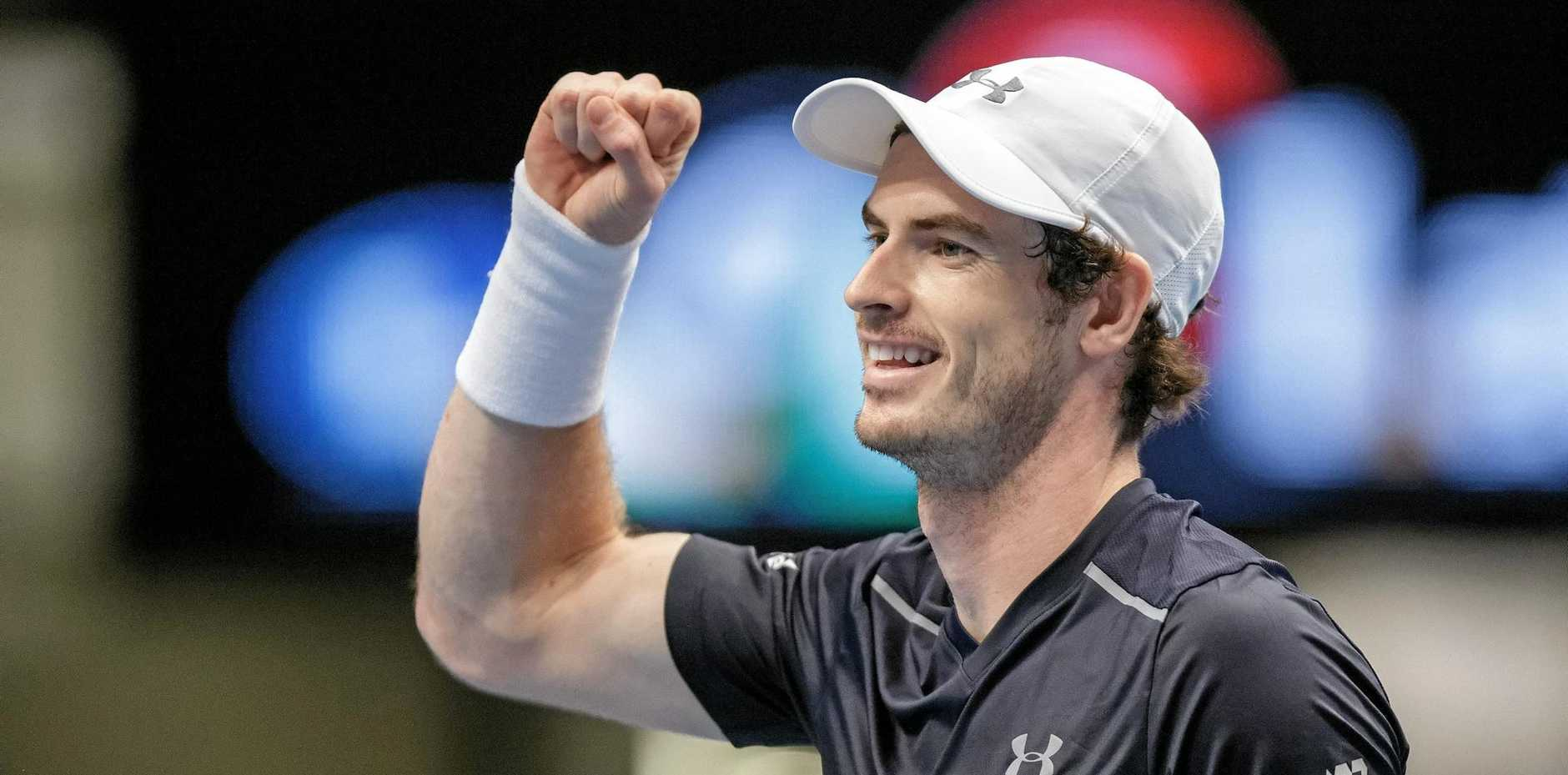 Andy Murray of Britain celebrates after winning against Jo-Wilfried Tsonga of France in the singles final of the Erste Bank Open ATP tennis tournament in Vienna.