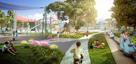 PLANNED: The Kershaw Gardens redevelopment will include a new playground. Please note this artist impression is for the initial plans which have since changed.
