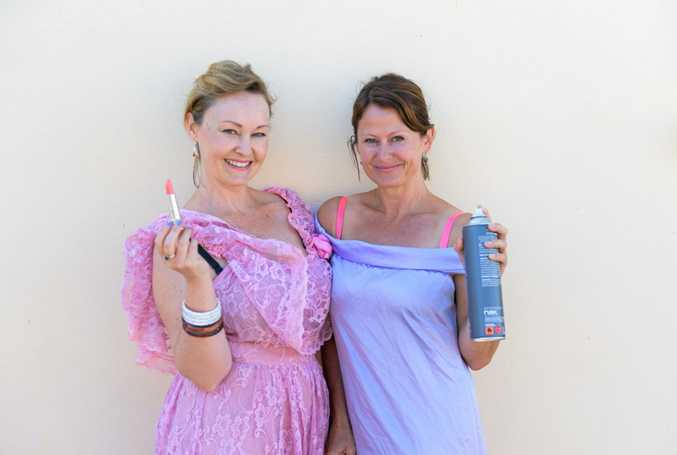 Natalie Le Breton and Tanya Priest get into character for their bridesmaid-inspired Relay for Life Fundraiser at the Bottom Hotel in Maclean this Friday.