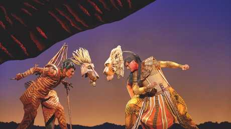 Rob Collins and Josh Quong Tart in a scene from the musical The Lion King.