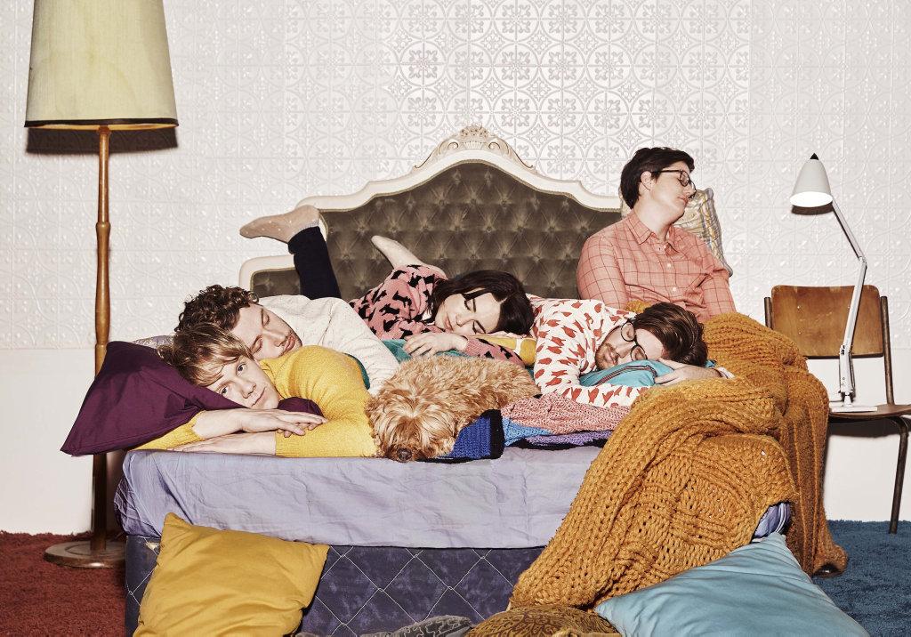 Josh Thomas, Keegan Joyce, Emily Barclay, Thomas Ward and Hannah Gadsby star in the fourth season of the TV series Please Like Me.
