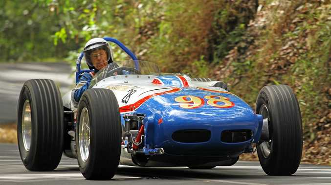 HILL CHALLENGE: Lloyd Robertson's 1959 Watson Indy Roadster pictured at the 2016 winter version of the Noosa Hill Climb