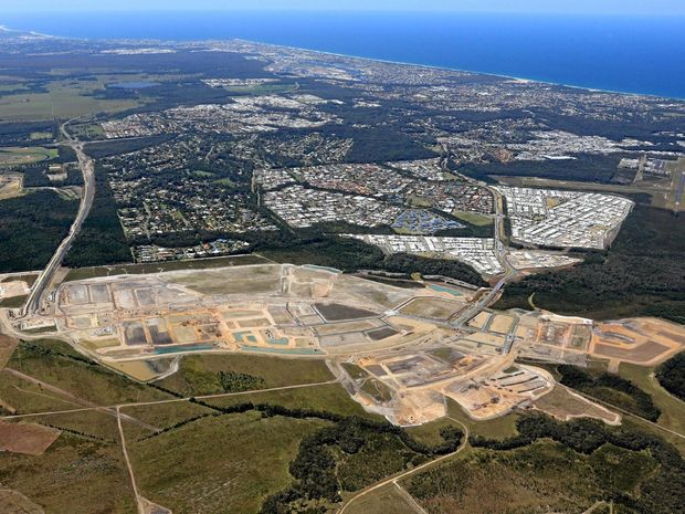 Aerial view of Caloundra South/Aura dated October 24, 2016, supplied by Stockland. Shows suburb of Baringa being prepared for houses.