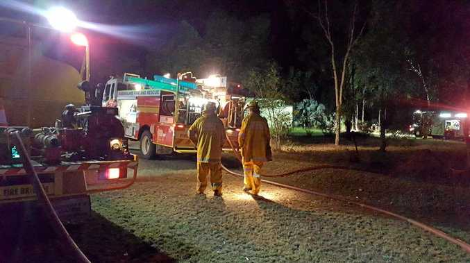 Brad Kingston posted this photo on The Caves Rural Fire Brigade's Facebook page of crews at the shed fire at Glendale