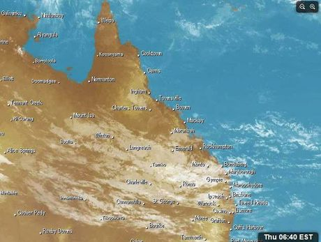 A satellite image of the rain clouds move west to east across central Queensland on November 3, 2016
