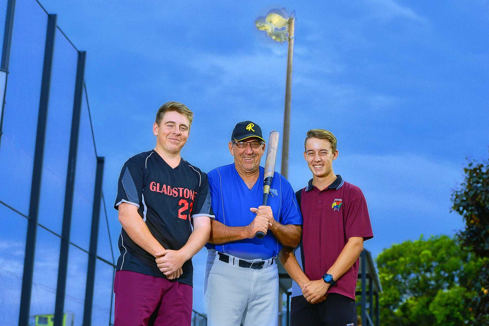 MEN AT WORK: Cardinals player Brock Finlay, Souths Merv Downing and Blue Jays Josh Ferguson, all agreed mens softball will take off.