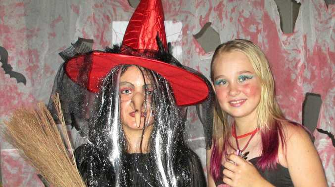 TRICKSTERS: Monique Parkhill (left) and Taylor Edwards were dressed for the occasion at last Friday's Halloween party at Widgee.