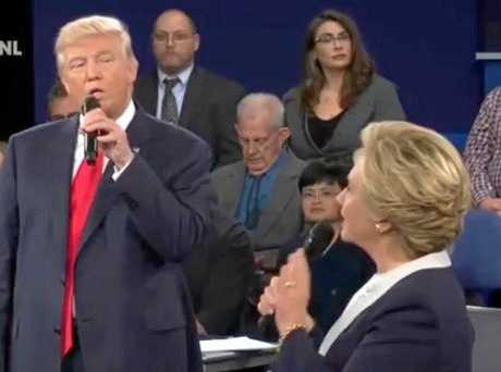 Donald Trump and Hillary Clinton pictured during the second US Presidential debate.
