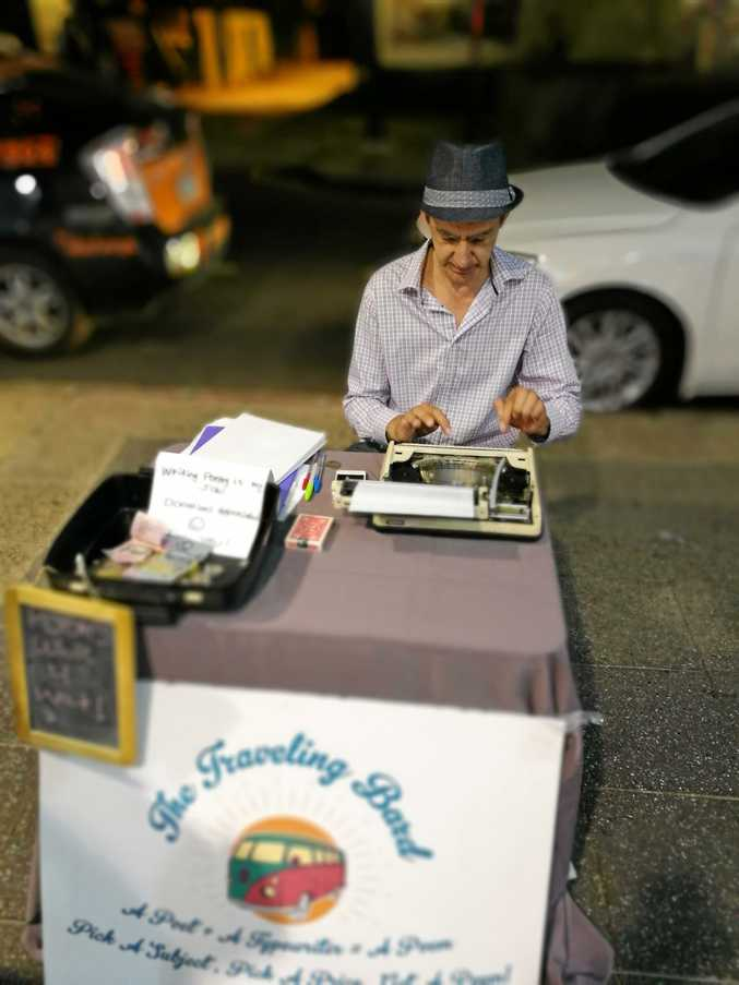 The P9 has a nice depth of field feature as seen in this photo of a street poet in Brisbane.