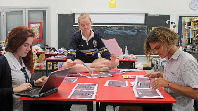 FILM FESTIVAL: Isabelle Cowan,Rose Toohey-Crock and Zahn Sturgess prepare for the Stuffit Student Film Festival