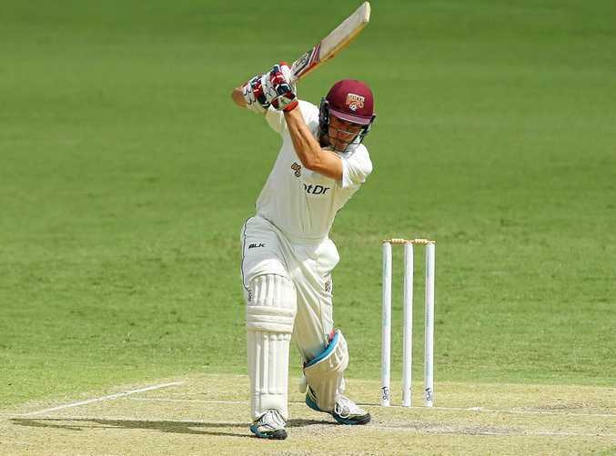Sam Heazlett of Queensland bats against Victoria at the Gabba last season.