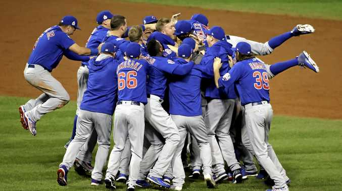 The Chicago Cubs celebrate after wining game seven of the Major League Baseball World Series against the Cleveland Indians.