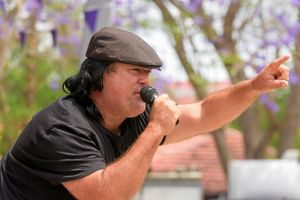 Clarence Valley Council's lip sync battle performance at Market Square on Jacaranda Thursday.