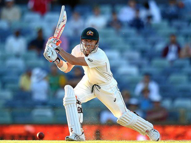Australian batsman David Warner hits one of his 13 boundaries.